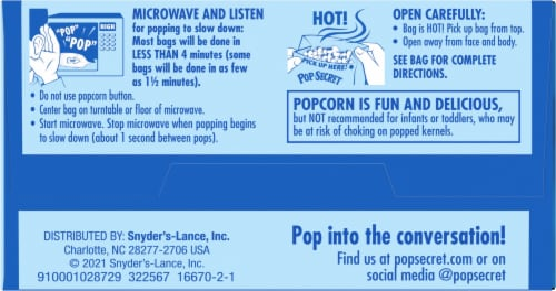 Pop Secret Extra Butter Popcorn Bags Perspective: bottom