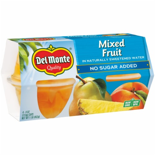 Del Monte No Sugar Added Mixed Fruit Cups 4 Count Perspective: bottom