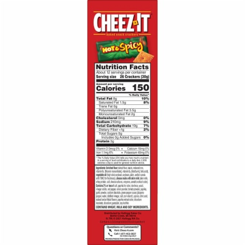 Cheez-It Baked Snacks Hot and Spicy Cheese Crackers Perspective: bottom