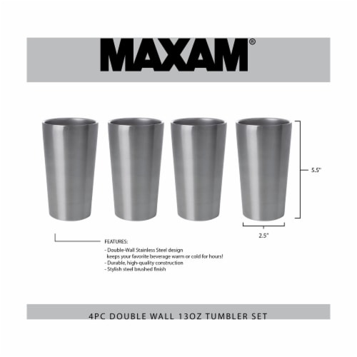 Maxam Stainless-Steel 4-piece Double Wall 13 oz. Tumbler Set Perspective: bottom