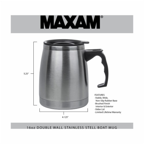 Maxam Double Wall Stainless Steel Boat Mug 16 Ounce Wide Non-Slip Base Perspective: bottom