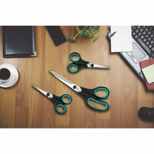 Maxam Household Scissor Set with Soft-Touch Handels for a Safe Comfortable Grip 3-Pieces Perspective: bottom