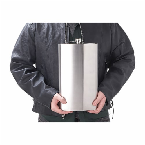 Maxam  Stainless Steel Flask Extra Large Drinking Flask Polished Silver 1 Gallon Capacity Perspective: bottom