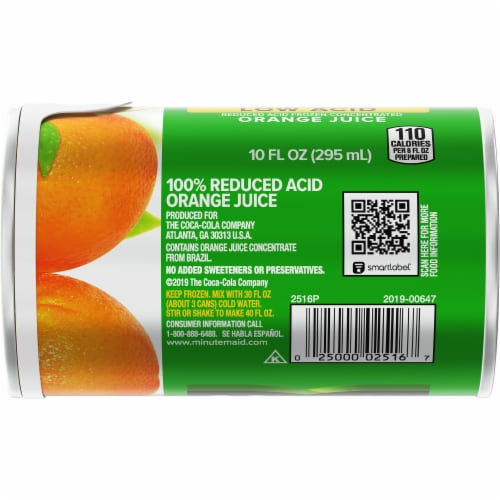 Minute Maid Low Acid Frozen Concentrated Orange Juice Perspective: bottom