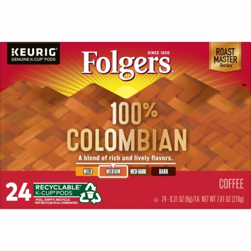 Folgers 100% Colombian Medium Roast Coffee K-Cup Pods Perspective: bottom