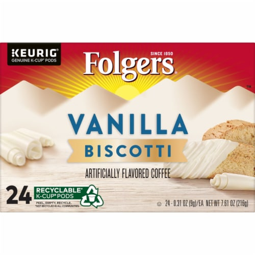 Folgers Vanilla Biscotti Flavored Coffee K-Cup Pods Perspective: bottom