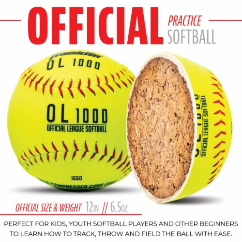 Franklin Official League Softballs - Yellow Perspective: bottom