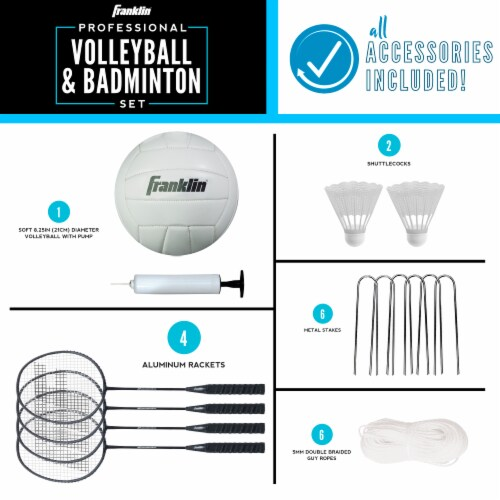 Franklin Professional Volleyball and Badminton Set Perspective: bottom