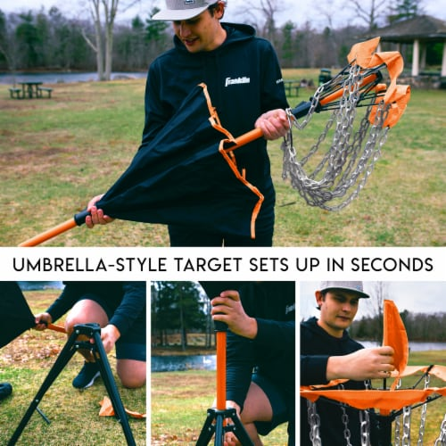 Franklin Metal Chain Disc Golf Target - Black/Orange Perspective: bottom