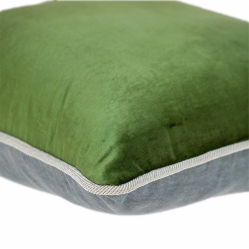 Parkland Collection Maia Transitional Olive Throw Pillow Perspective: bottom
