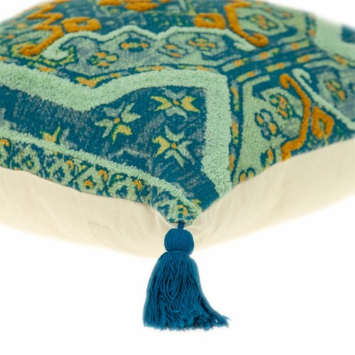 Parkland Collection Lotus Transitional Teal Throw Pillow Perspective: bottom