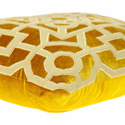 Parkland Collection Hazel Transitional Mustard Yellow Throw Pillow Perspective: bottom