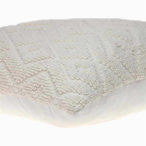 Parkland Collection Sorrel Transitional White Throw Pillow Perspective: bottom
