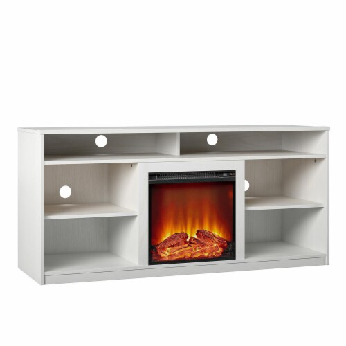 RealRooms Vesta Fireplace TV Stand for TVs up to 65 , White Perspective: bottom