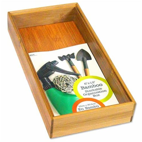 Lipper International Inc. 6 x 12 Inch Bamboo Wood Stacking Storage Organizer Box Perspective: bottom