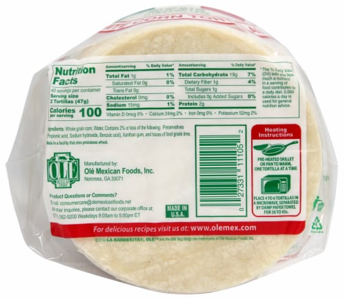 La Banderita White Corn Tortillas 80 Count Perspective: bottom