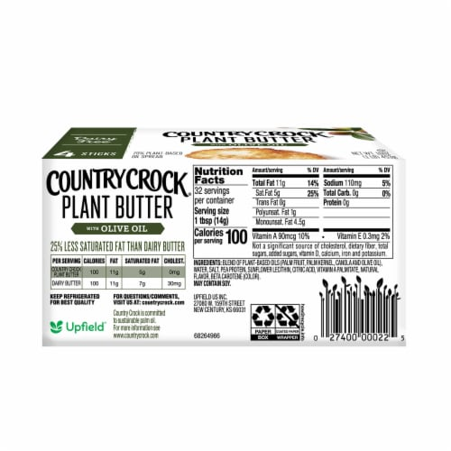 Country Crock Dairy Free Olive Oil Plant Butter Perspective: bottom