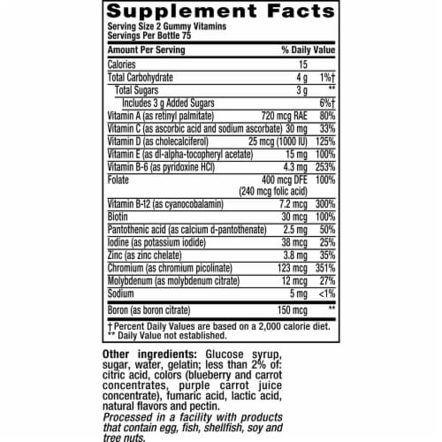 Vitafusion Natural Berry Flavored Men's Multivitamin Gummies Perspective: bottom