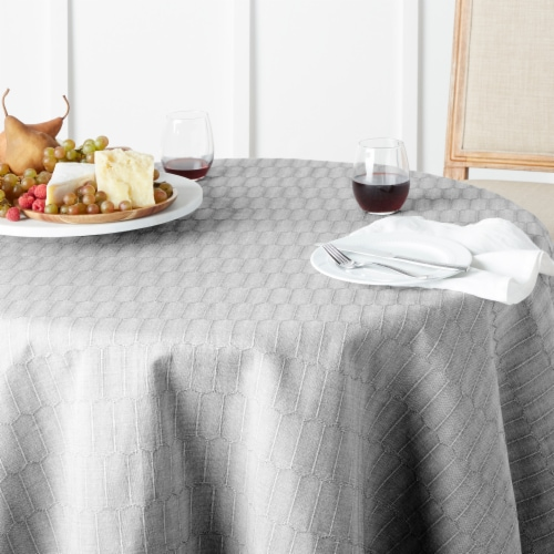 Martha Stewart Honeycomb Round Tablecloth - Gray Perspective: bottom