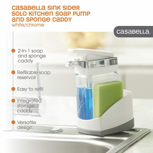 Casabella Chrome Plated Hand Pump Sink Sider Solo with Sponge Compartment, White Perspective: bottom