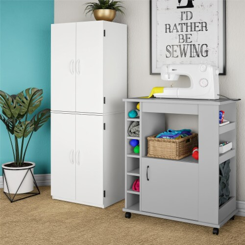Williams Kitchen Cart, Dove Gray Perspective: bottom