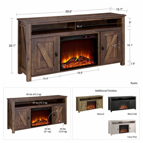 Farmington Electric Fireplace TV Console for TVs up to 60 , Rustic Perspective: bottom