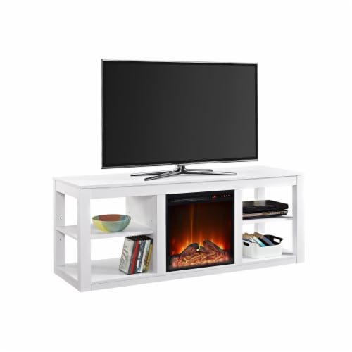 Ameriwood Home Parsons Fireplace TV Stand in White Perspective: bottom