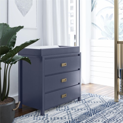 Monarch Hill Haven 3 Drawer Navy Changing Dresser Perspective: bottom