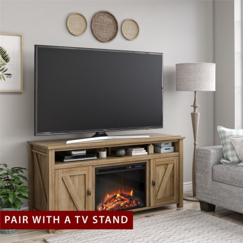 Ameriwood Home 23  x 18  Glass Front Electric Fireplace Insert, Black Perspective: bottom