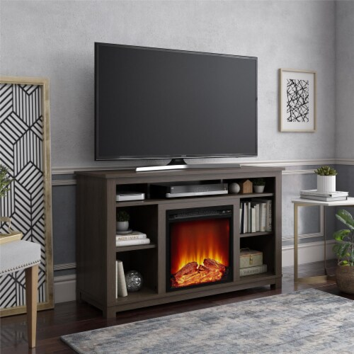 Edgewood Fireplace TV Stand for TVs up to 55 , Weathered Oak Perspective: bottom