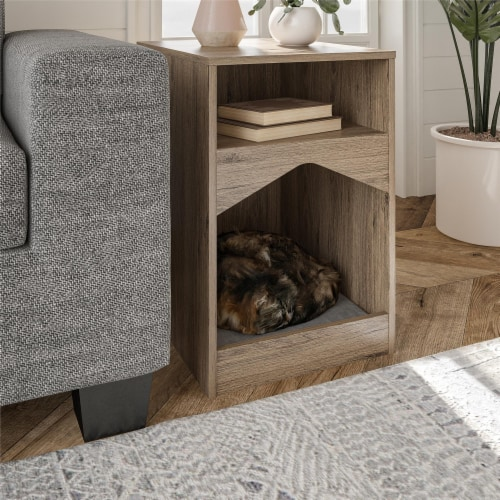 Roscoe Cat House End Table, Rustic Oak Perspective: bottom
