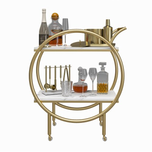 CosmoLiving by Cosmopolitan Amelia Round Bar Cart, White Marble Perspective: bottom