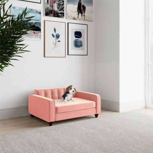 Ollie & Hutch Pin Tufted Pet Sofa, Small/Medium, Pink Velvet Perspective: bottom