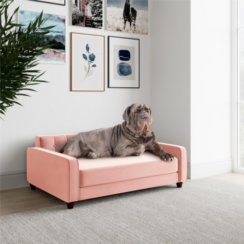Ollie & Hutch Pin Tufted Pet Sofa, Large Size, Pink Velvet Perspective: bottom