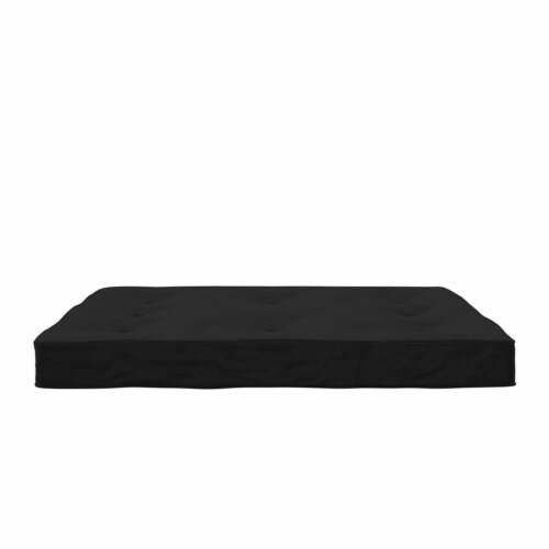 DHP Carson 8 Inch  High Density Polyester Fill Futon Mattress Full Size in Black Perspective: bottom