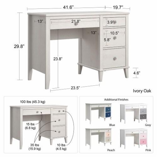 Monarch Hill Poppy Kids' Ivory Oak Desk Perspective: bottom