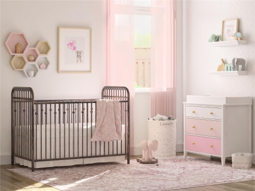 Monarch Hill Poppy 3 Drawer Changing Table, Pink Perspective: bottom