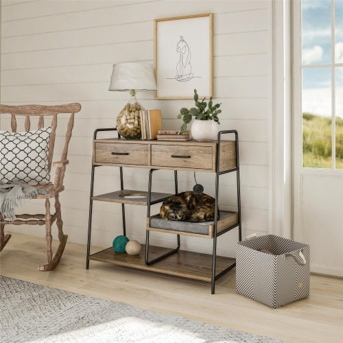 O'Malley Accent Table with Cat Bed, Rustic Oak Perspective: bottom