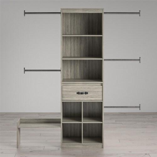 Nova Grow with Me Grey Oak Adjustable Kids' Closet Organizer System Perspective: bottom