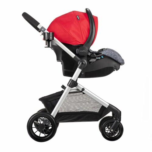 Evenflo Pivot Baby Stroller and Safemax Infant Car Seat Travel System, Red Perspective: bottom
