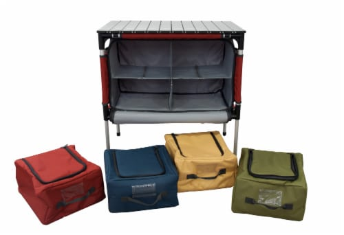 Camp Chef Sherpa Mountain Series Table with four storage compartments and retractable legs Perspective: bottom