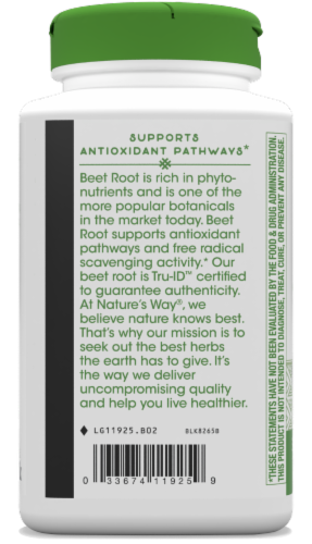 Nature's Way Beet Root Capsules 500mg Perspective: bottom