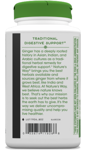 Nature's Way Ginger Root Capsules 550mg Perspective: bottom