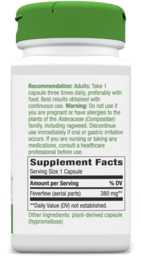 Nature's Way Feverfew Leaves Capsules 380 mg Perspective: bottom