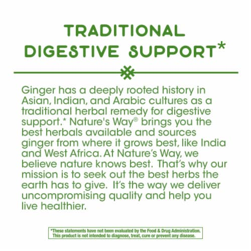 Nature's Way Ginger Root Capsules 1100mg Perspective: bottom