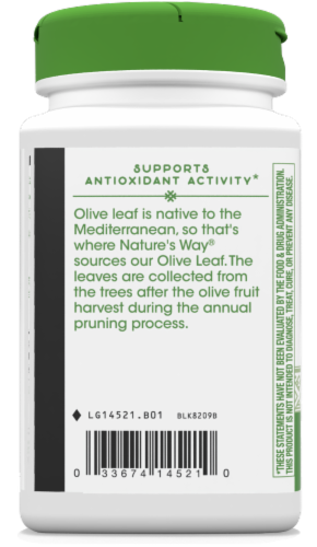 Nature's Way Olive Leaf Capsules 500mg Perspective: bottom
