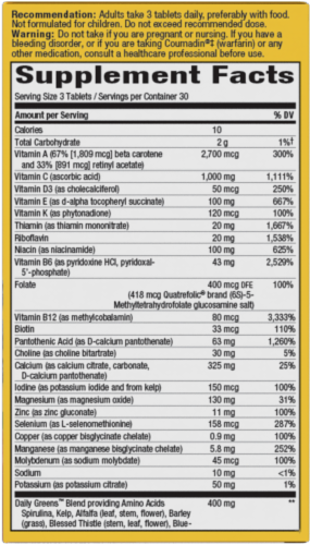 Nature's Way Alive! Multivitamin Max Potency Tablets Perspective: bottom
