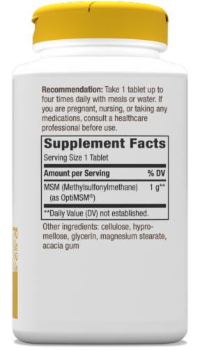 Nature's Way MSM Tablets 1000 mg Perspective: bottom