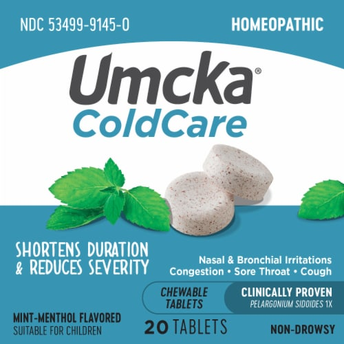 Nature's Way Umcka Cold Care Mint-Menthol Flavor Chewable Tablets Perspective: bottom