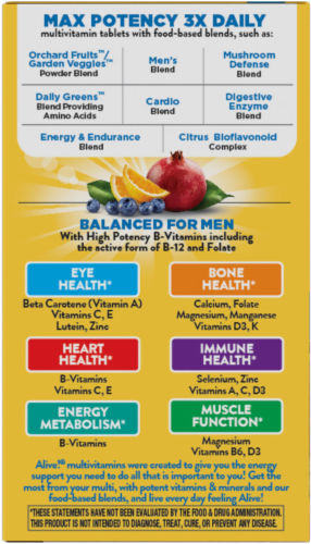 Nature's Way Alive! Men's Multi Max Potency Tablets Perspective: bottom